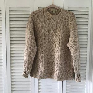 Vintage Wool Irish Cable Knit Sweater
